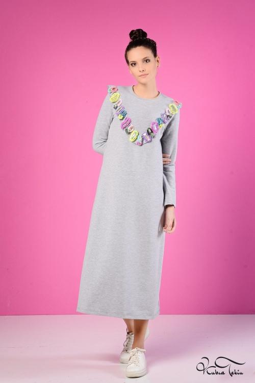 Sindy Gri  Renkli Fırfırlı Elbise