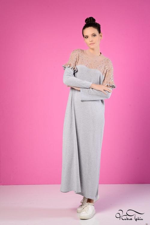 Nolita Gri-Pudra Triko Elbise
