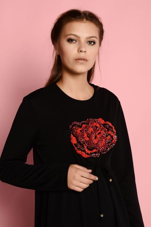 Kate Siyah Rose Elbise