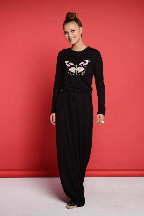 Olivia Siyah Kelebek Elbise