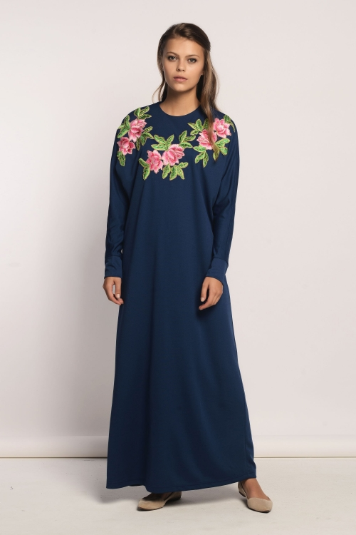 Mavi Gül Motifli Elbise