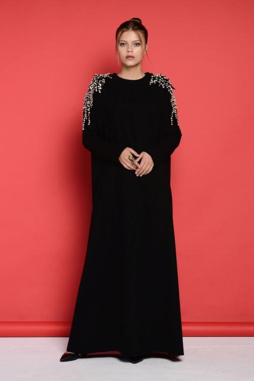 Sindy Siyah Omuz Detaylı Elbise