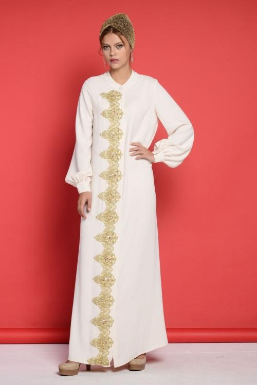 Camilia Ekru Dantel İşlemeli Elbise