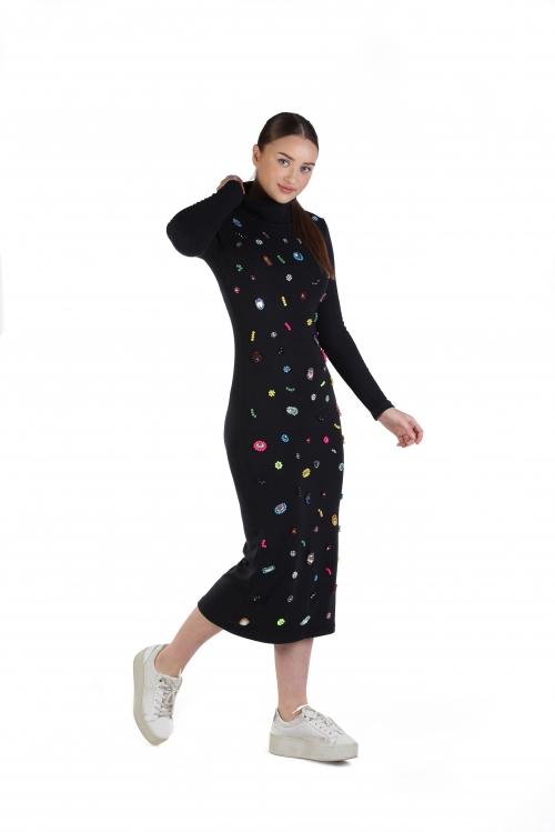 Brittni Siyah İşlemeli Triko Elbise