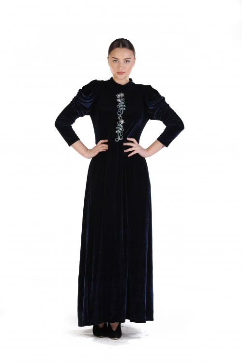 Lacivert Kadife İşlemeli Elbise