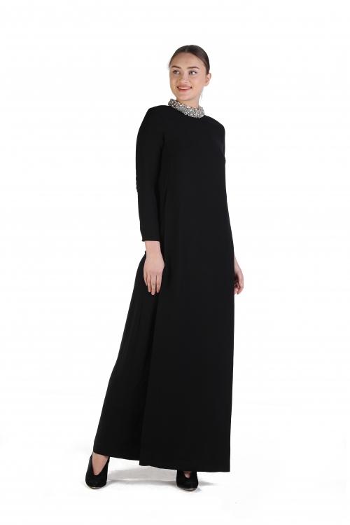 Sezen Siyah İşlemeli Krep Elbise