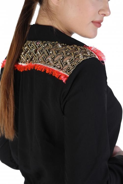 Deniz Pencere İşlemeli Krep Elbise
