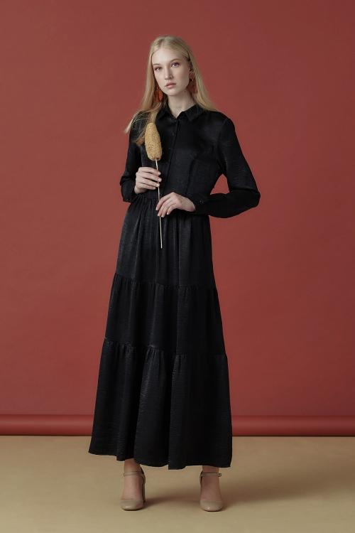İpeksi Siyah Gömlek Elbise
