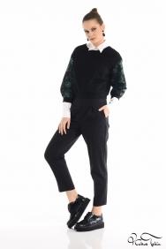 Yeşil Brokar Mini Bluz