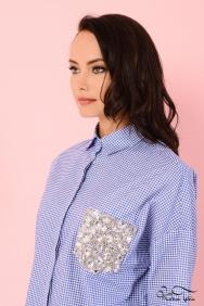 Scarlett Coton Mavi Kareli Gömlek