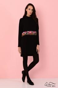 Alba Bel Detaylı Siyah Tunik