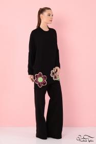 Zola Floral İşlemeli Siyah Tunik