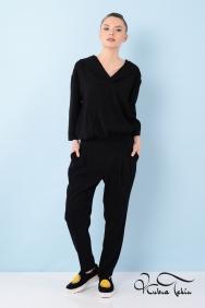Kapişonlu Siyah Dantel Bluz