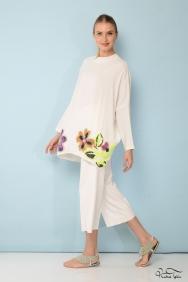 Zola Floral İşlemeli Ekru Tunik