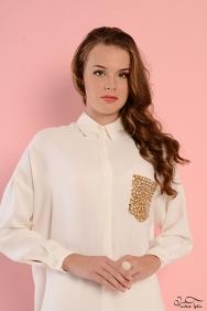 Scarlett Krem Altın Cep Gömlek