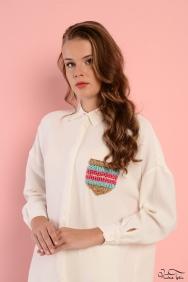 Scarlett Krem Şerit Cep Gömlek