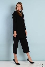 Scarlett Siyah Şerit Cep Gömlek