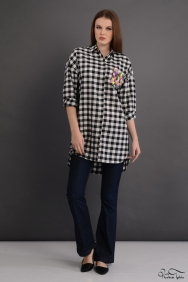Scarlett Coton Siyah Renkli Cep Gömlek
