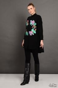 Scarlett Wreath Siyah Gömlek