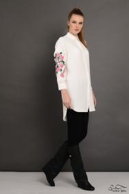 Scarlett Ekru Kolu Nakış İşlemeli Gömlek