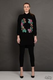 Scarlett Wreath Siyah İşlemeli Gömlek