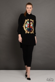 Scarlett Rönesans Siyah İşlemeli Gömlek