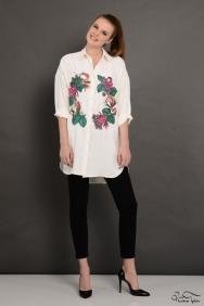 Scarlett Wreath Ekru İşlemeli Gömlek