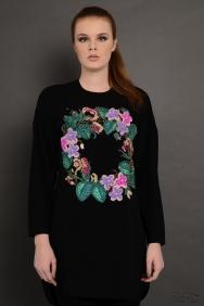 Scarlett Wreath Siyah İşlemeli Tunik
