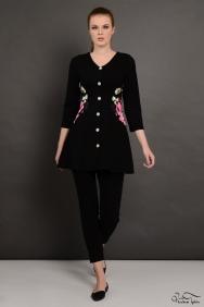 Siyah Bel Detaylı Rose Tunik