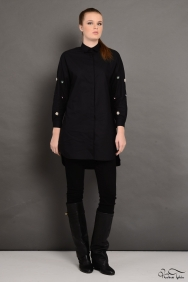 Lara Scarlett Siyah Kol Detaylı Gömlek