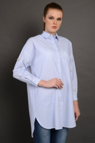 Lara Scarlett Mavi Çizgili Kol Detaylı Gömlek