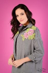 Scarlett Coton Siyah Kareli Çiçek Motifli Gömlek
