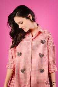 Scarlett Coton Kırmızı Kalp Gömlek