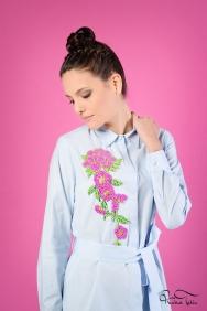 Jessica Coton Mavi Çiçek Motifli Gömlek