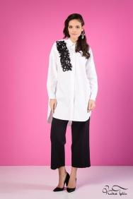 Scarlett Siyah Motifli Beyaz Gömlek