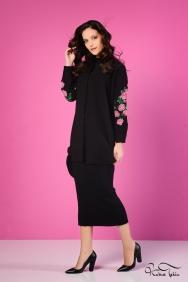 Scarlett Siyah Kolu Nakış İşlemeli Gömlek