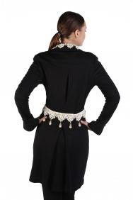 Liz İnci İşlemeli Siyah Tunik