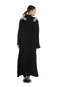 Siyah Uzun İşlemeli Şifon Kimono