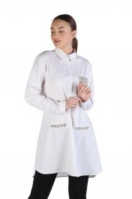 Tiffany Beyaz Poplin İşlemeli Gömlek