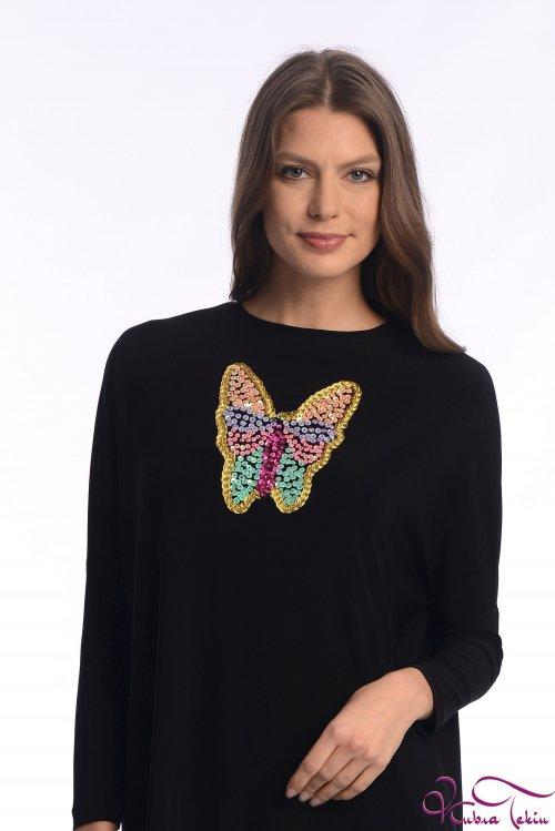 Sindy Kelebek İşlemeli Siyah Tunik