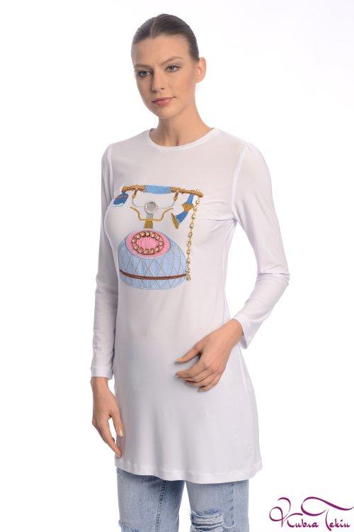 Kupraa Beyaz Nakışlı Tunik
