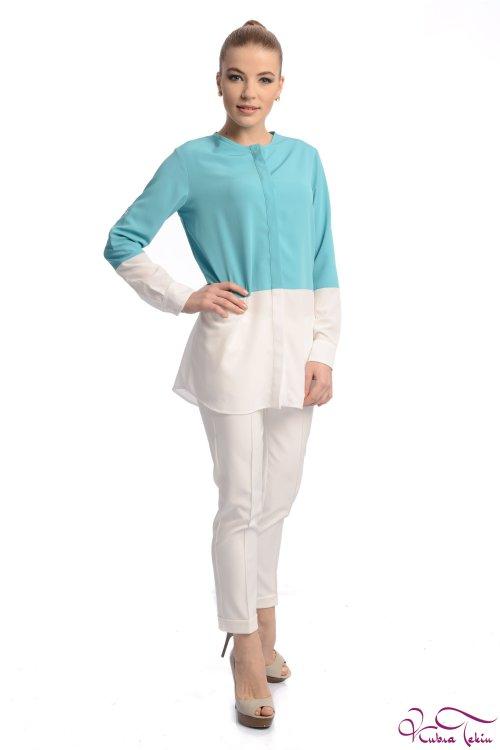 Veronica Turkuaz - Beyaz Gömlek