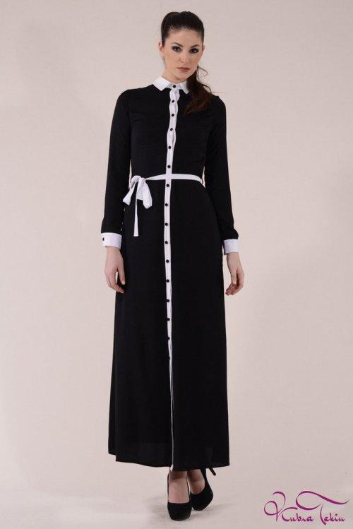 Siyah Beyaz Uzun Gömlek