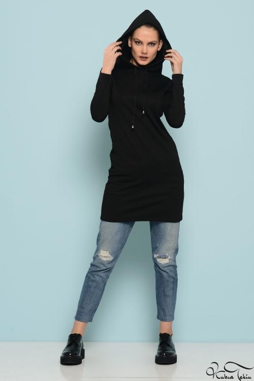 Kapişonlu Siyah Tunik
