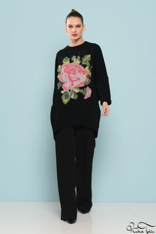 Zola Siyah Rose Tunik