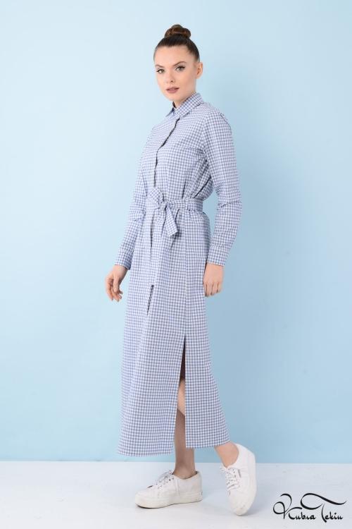 Jessica Coton Mavi Kareli Gömlek