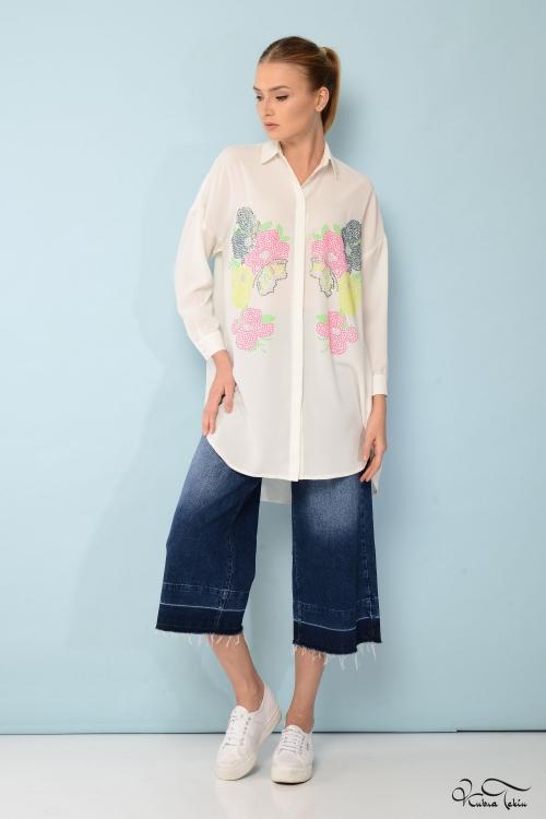 Scarlett Floral Taşlı Gömlek
