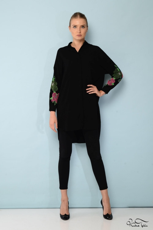 Scarlett Renkli Kol Siyah Gömlek