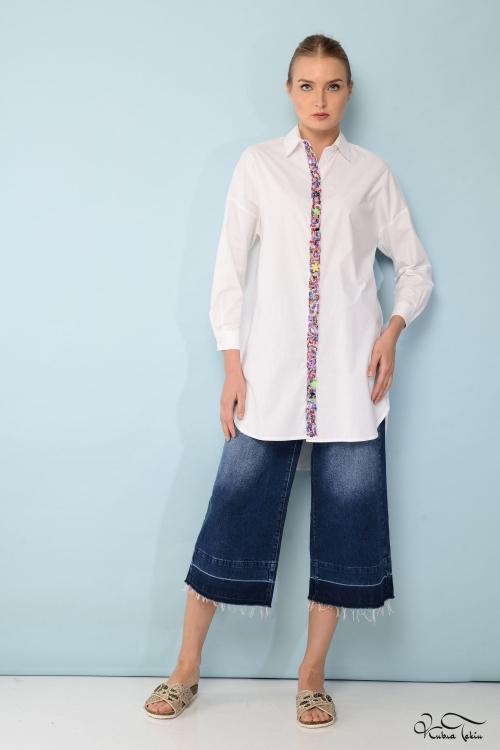 Scarlett Şeritli Beyaz Gömlek