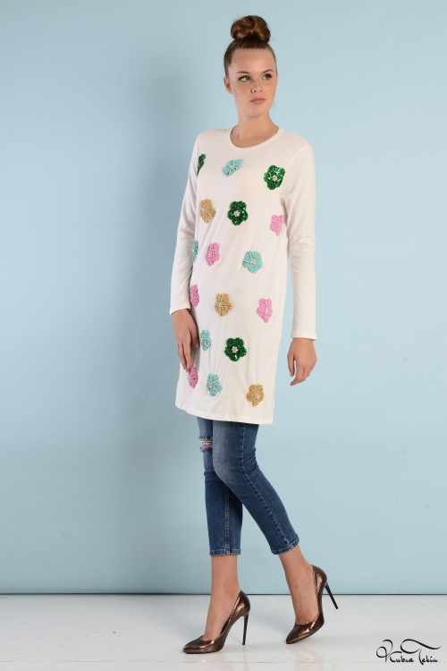 Floral Beyaz Tunik
